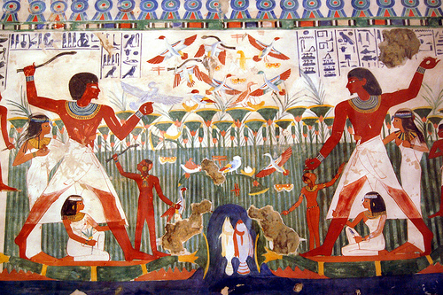 pintura mural egipcia
